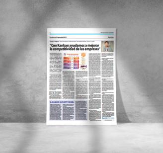 """Foto Artículo de prensa donde aparece la foto de Teodora Bozheva. Título del artículo: """"Con Kanban ayudamos a mejorar la competitividad de las empresas"""""""